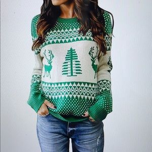 Ugly Christmas Sweater Reindeer Tree Knit Pullover